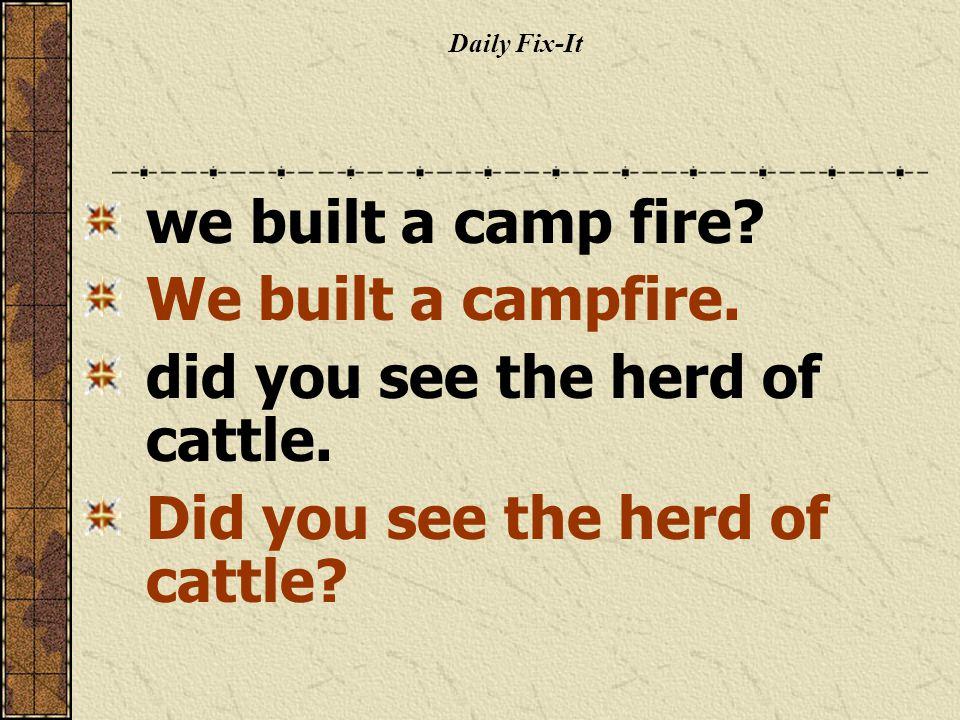 Daily Fix-It we built a camp fire. We built a campfire.