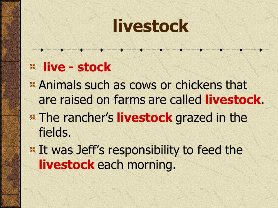 livestock live - stock Animals such as cows or chickens that are raised on farms are called livestock. The rancher's livestock grazed in the fields. I