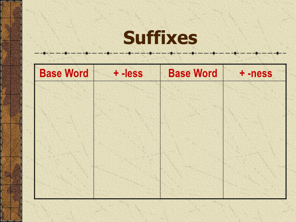 Suffixes Base Word + -less Base Word + -ness