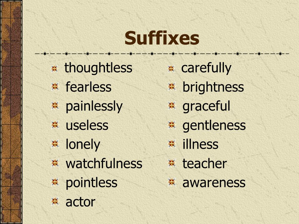 Suffixes thoughtless fearless painlessly useless lonely watchfulness pointless actor carefully brightness graceful gentleness illness teacher awarenes