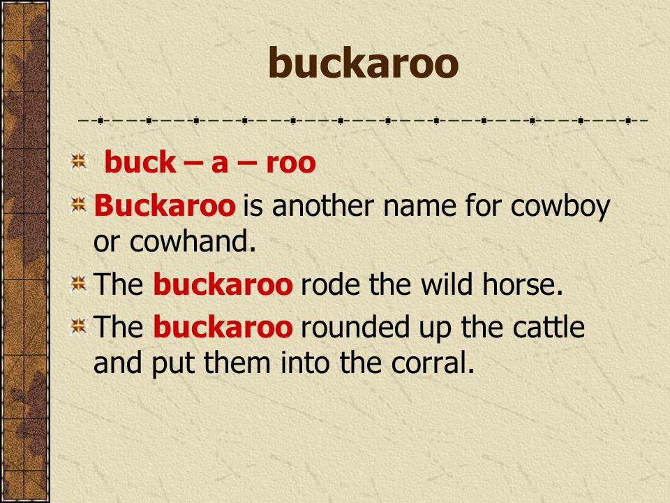 buckaroo buck – a – roo Buckaroo is another name for cowboy or cowhand.
