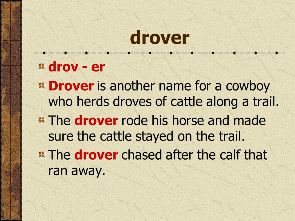 drover drov - er Drover is another name for a cowboy who herds droves of cattle along a trail. The drover rode his horse and made sure the cattle stay