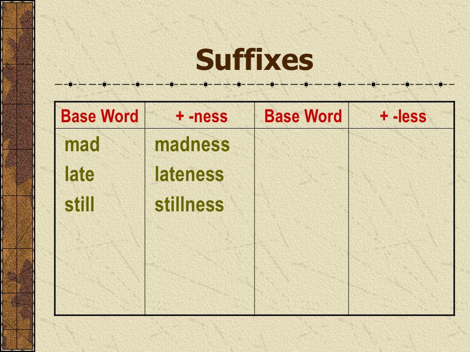 Suffixes Base Word + -ness Base Word + -less mad late still madness lateness stillness