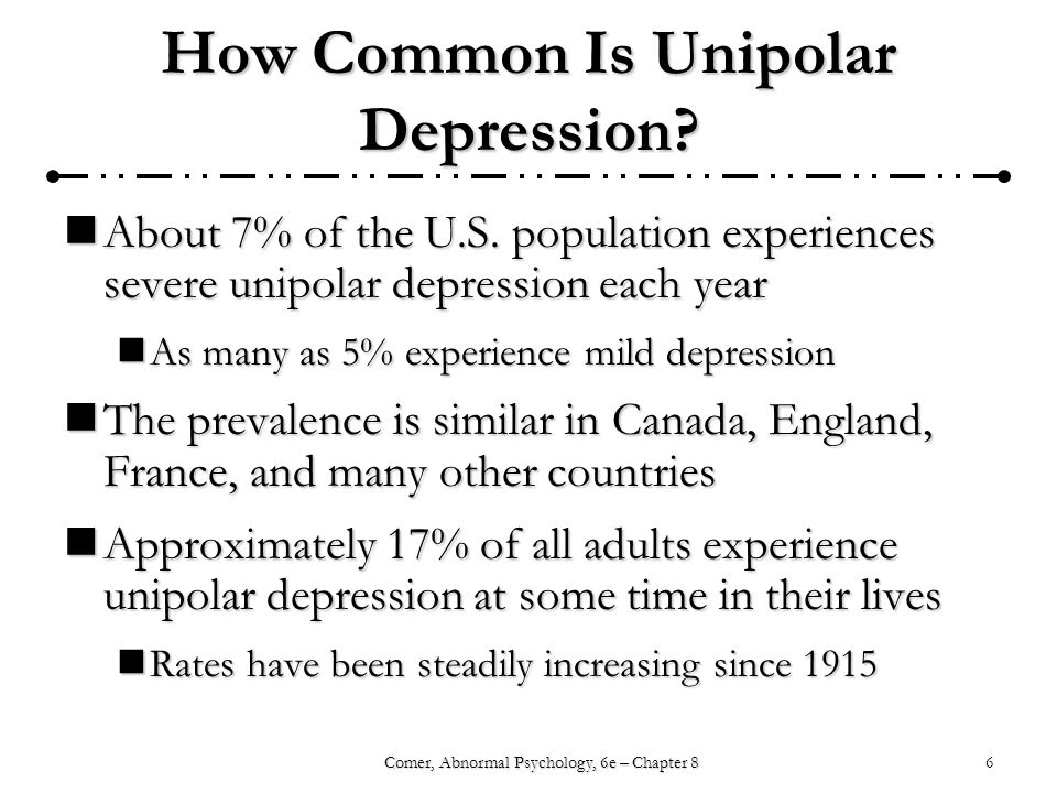6Comer, Abnormal Psychology, 6e – Chapter 8 How Common Is Unipolar Depression.