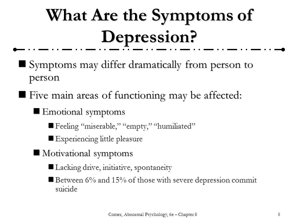 8Comer, Abnormal Psychology, 6e – Chapter 8 What Are the Symptoms of Depression.