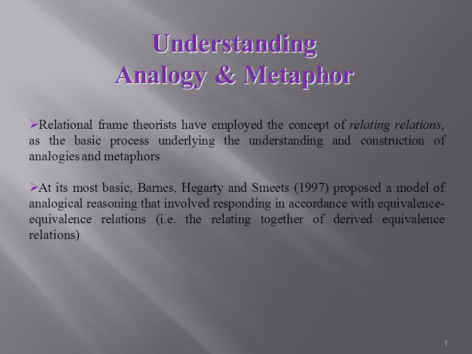 1  Relational frame theorists have employed the concept of relating relations, as the basic process underlying the understanding and construction of analogies and metaphors  At its most basic, Barnes, Hegarty and Smeets (1997) proposed a model of analogical reasoning that involved responding in accordance with equivalence- equivalence relations (i.e.