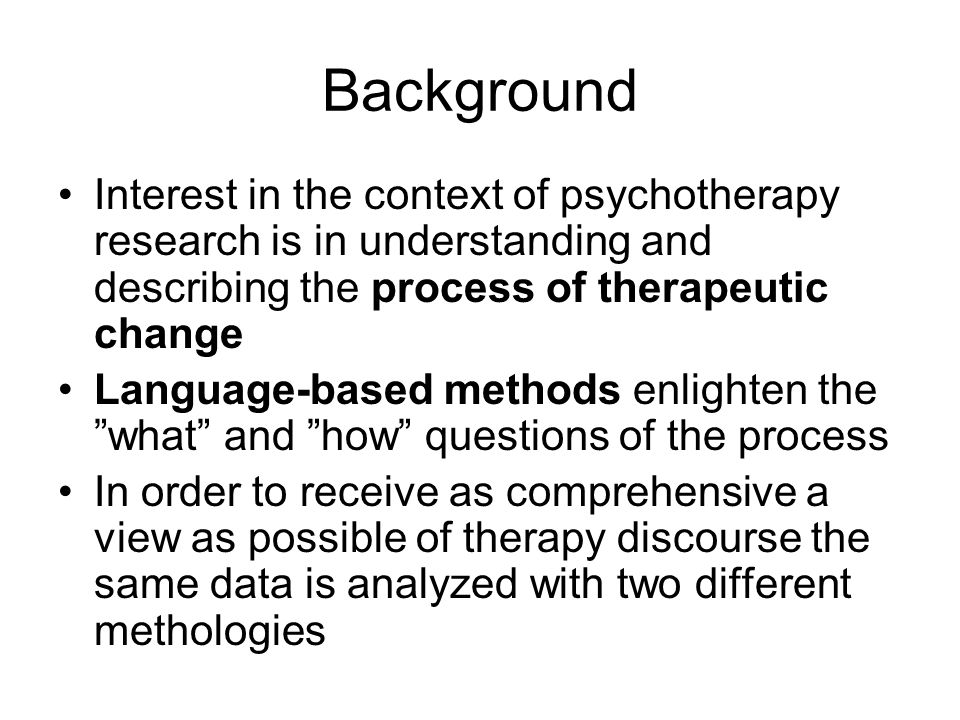 Dialogical Sequence Analysis Evolved in the context of supervising psychotherapy (Leiman 1994) A micro-analytic method to examine the dialogical organizations of client and therapist utterances in therapeutic discourse: -the dialogical positions that the client takes > > nature and content of problematic experiences Is not a standardized procedure but rather a set of theoretical concepts that articulate relational configurations Theoretical background in (Bakhtinian) semiotics