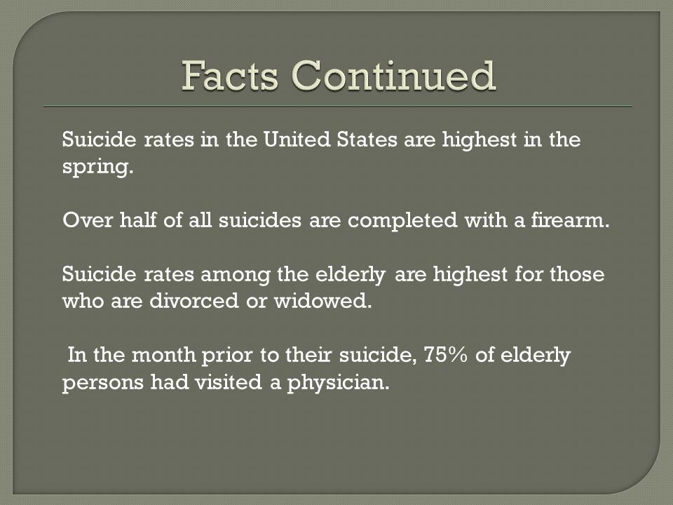 Suicide rates in the United States are highest in the spring. Over half of all suicides are completed with a firearm. Suicide rates among the elderly
