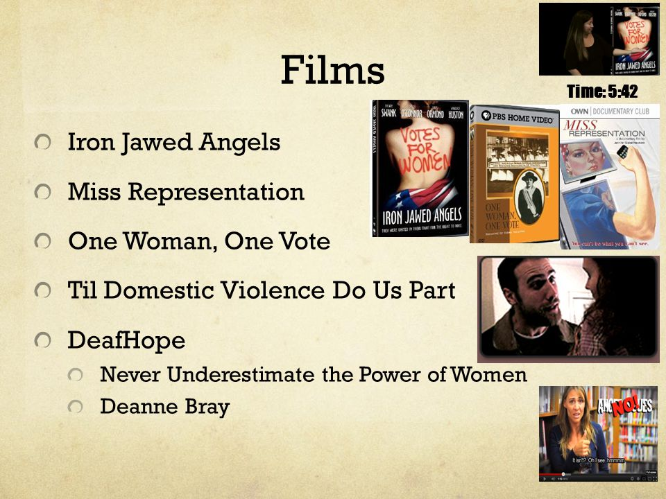 Films Iron Jawed Angels Miss Representation One Woman, One Vote Til Domestic Violence Do Us Part DeafHope Never Underestimate the Power of Women Deanne Bray Time: 5:42