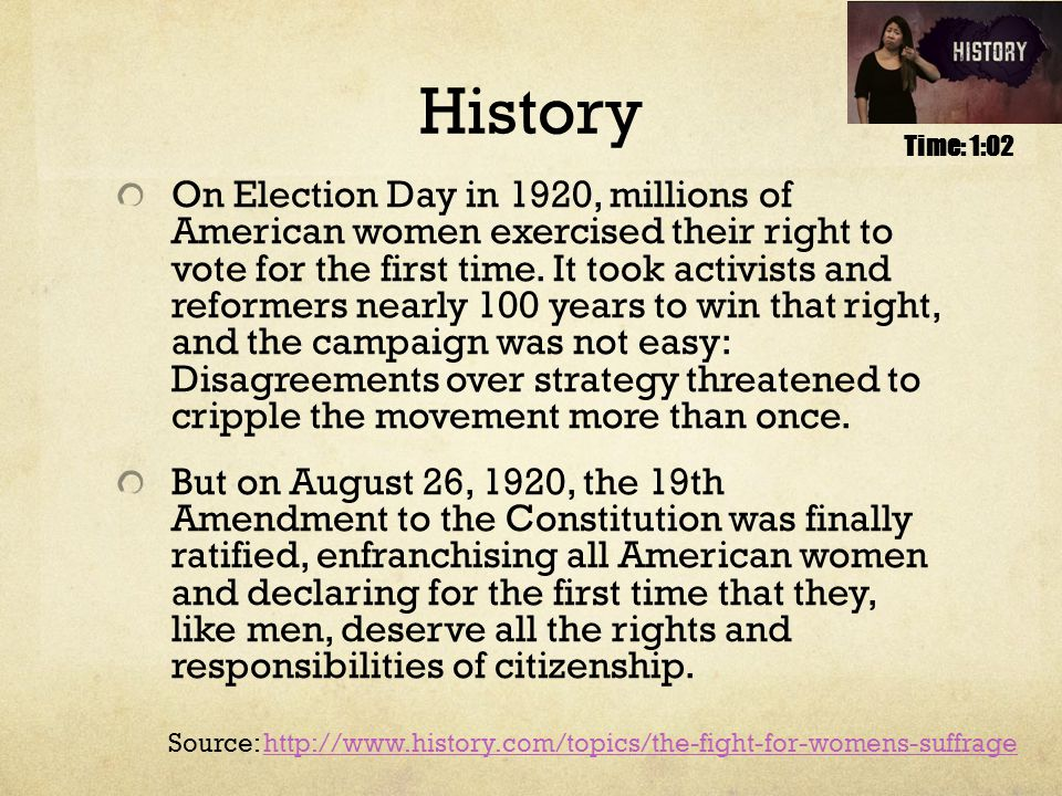History On Election Day in 1920, millions of American women exercised their right to vote for the first time.