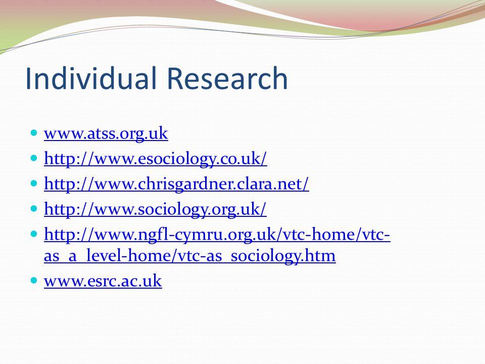 Individual Research www.atss.org.uk http://www.esociology.co.uk/ http://www.chrisgardner.clara.net/ http://www.sociology.org.uk/ http://www.ngfl-cymru.org.uk/vtc-home/vtc- as_a_level-home/vtc-as_sociology.htm http://www.ngfl-cymru.org.uk/vtc-home/vtc- as_a_level-home/vtc-as_sociology.htm www.esrc.ac.uk