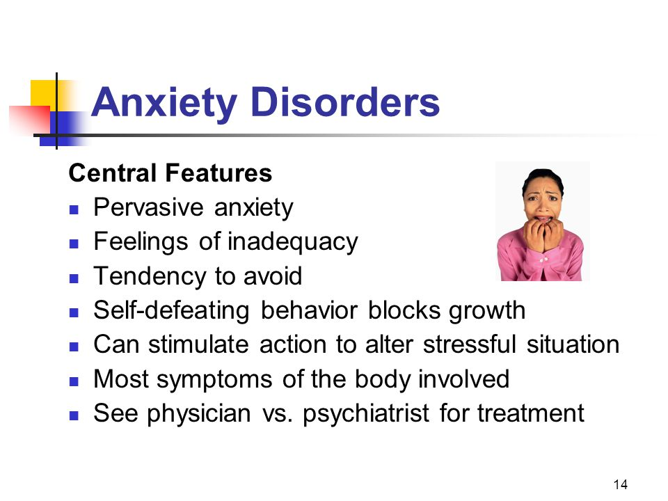 14 Anxiety Disorders Central Features Pervasive anxiety Feelings of inadequacy Tendency to avoid Self-defeating behavior blocks growth Can stimulate a
