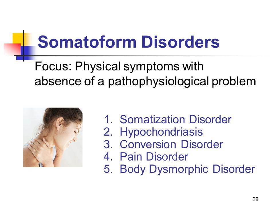 28 Somatoform Disorders 1.Somatization Disorder 2.Hypochondriasis 3.Conversion Disorder 4.Pain Disorder 5.Body Dysmorphic Disorder Focus: Physical sym