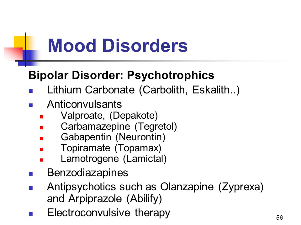 56 Mood Disorders Bipolar Disorder: Psychotrophics Lithium Carbonate (Carbolith, Eskalith..) Anticonvulsants Valproate, (Depakote) Carbamazepine (Tegr