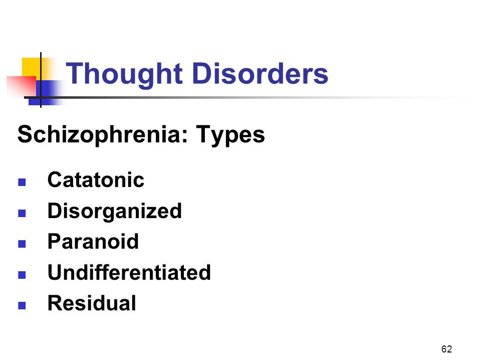 62 Thought Disorders Schizophrenia: Types Catatonic Disorganized Paranoid Undifferentiated Residual