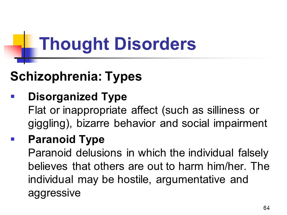 64 Thought Disorders Schizophrenia: Types  Disorganized Type Flat or inappropriate affect (such as silliness or giggling), bizarre behavior and socia