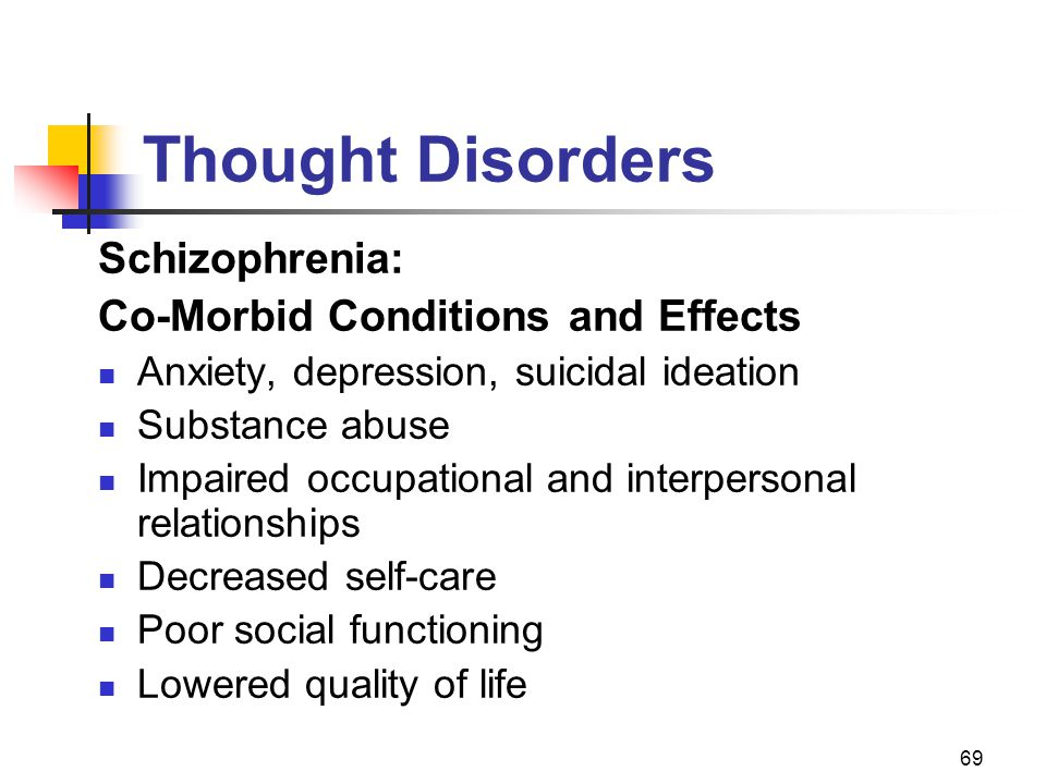 69 Thought Disorders Schizophrenia: Co-Morbid Conditions and Effects Anxiety, depression, suicidal ideation Substance abuse Impaired occupational and