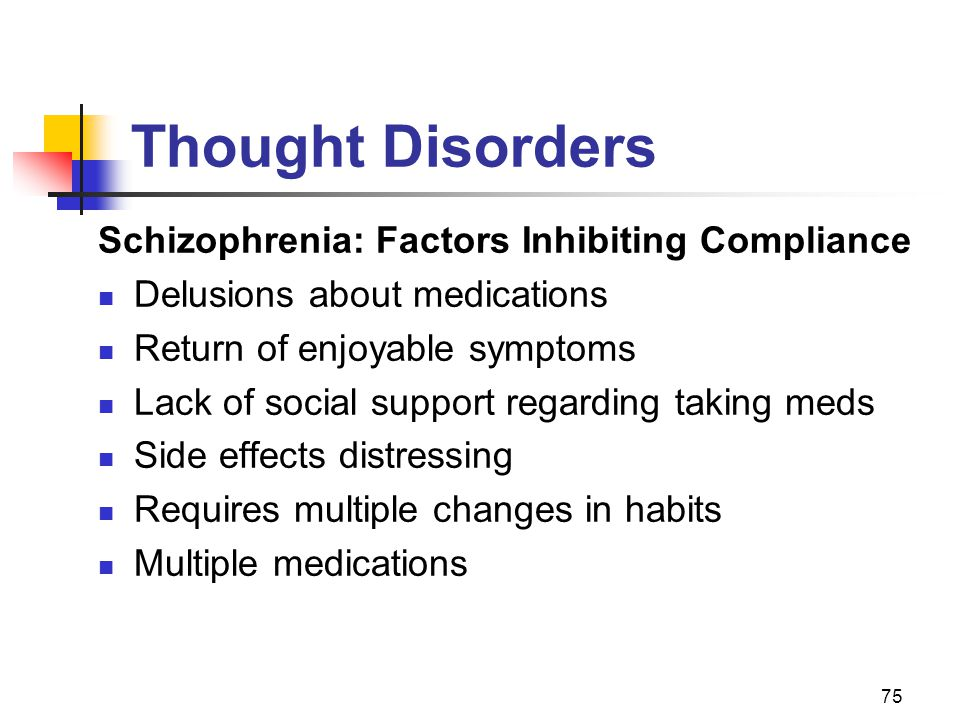75 Thought Disorders Schizophrenia: Factors Inhibiting Compliance Delusions about medications Return of enjoyable symptoms Lack of social support rega