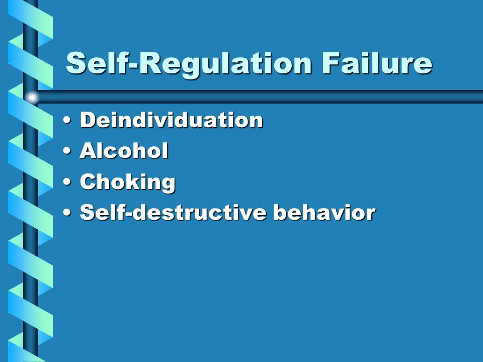Self-Regulation Failure DeindividuationDeindividuation AlcoholAlcohol ChokingChoking Self-destructive behaviorSelf-destructive behavior