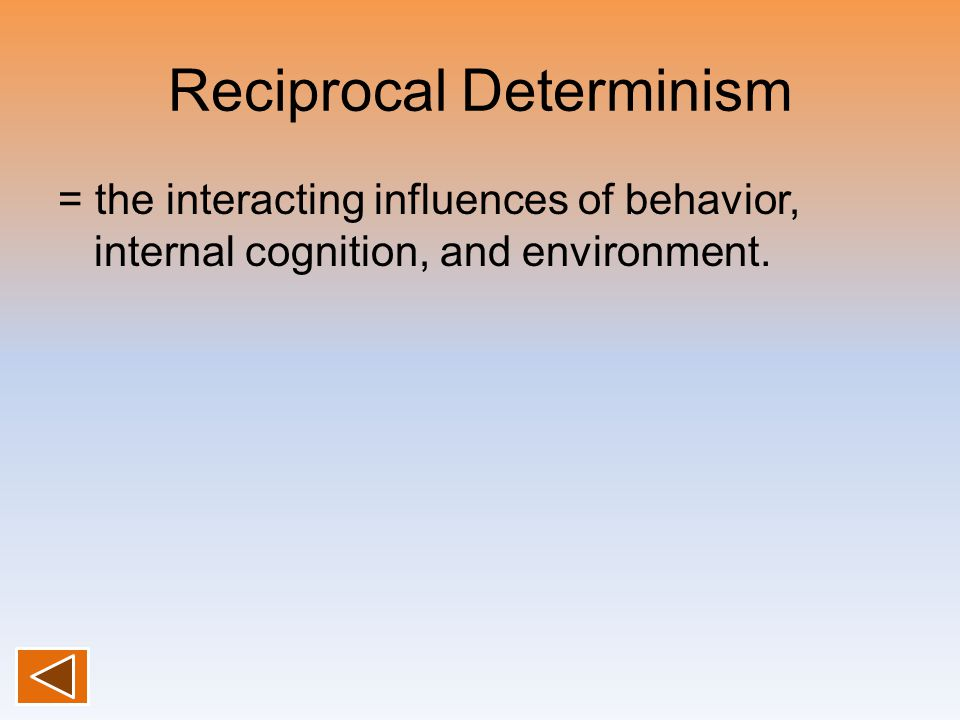 Reciprocal Determinism = the interacting influences of behavior, internal cognition, and environment.