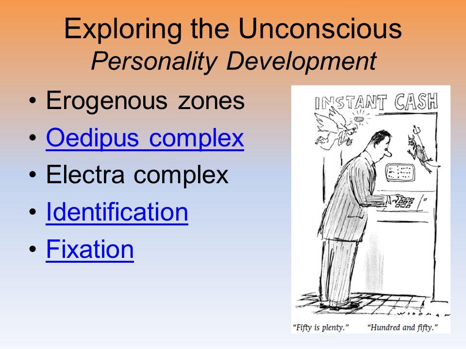 Exploring the Unconscious Personality Development Erogenous zones Oedipus complex Electra complex Identification Fixation