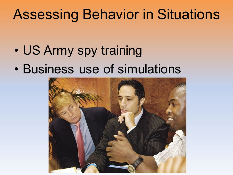 Assessing Behavior in Situations US Army spy training Business use of simulations