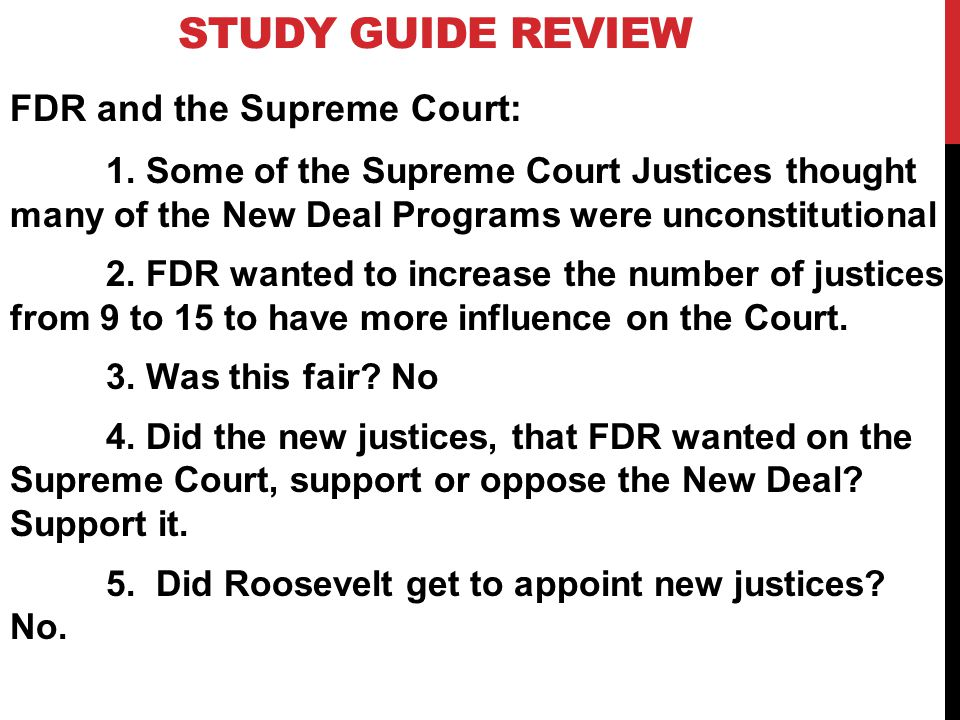 STUDY GUIDE REVIEW FDR and the Supreme Court: 1.