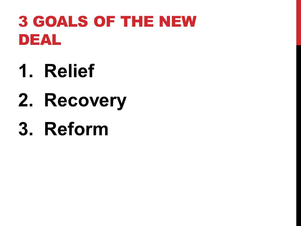 3 GOALS OF THE NEW DEAL 1. Relief 2. Recovery 3. Reform