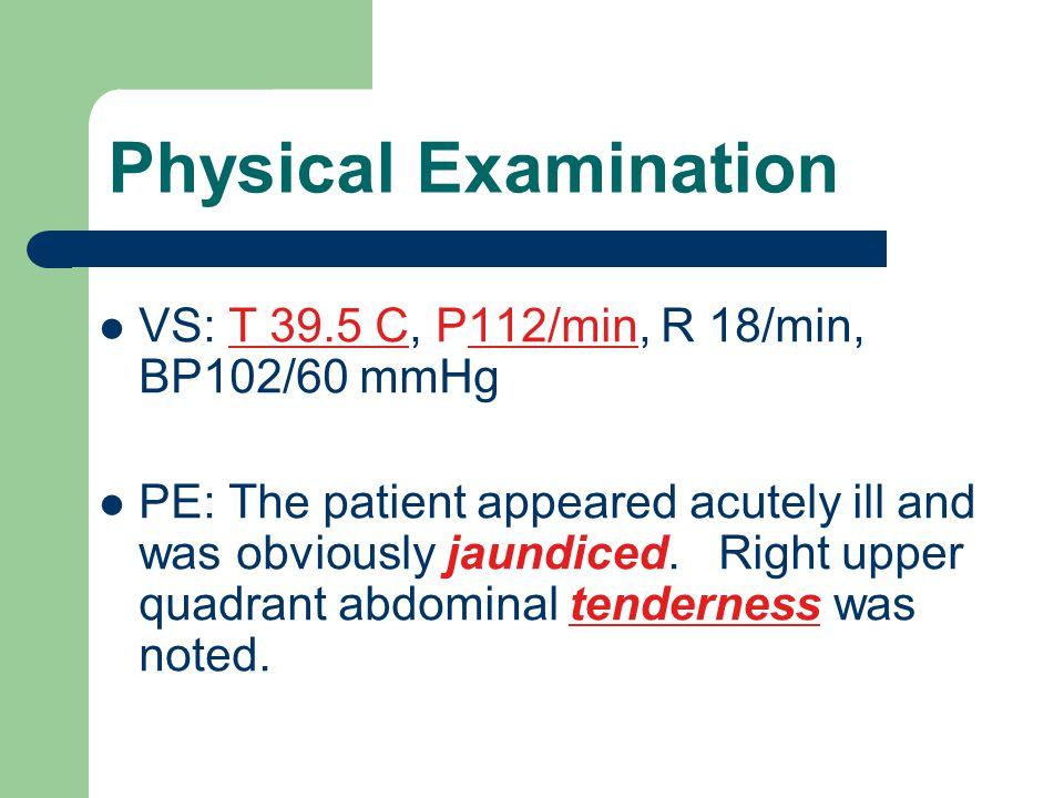Laboratory Studies WBC 22400/μl, Differential 55% PMNs, 20%bands, 12% lymphs, 8% eosinophils Serum chemistries: alkaline phosphatase 340 U/L bilirubin 4.3  mol/L