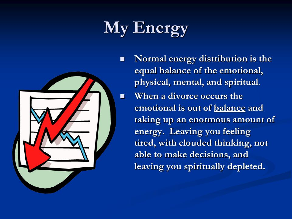 My Energy Normal energy distribution is the equal balance of the emotional, physical, mental, and spiritual. Normal energy distribution is the equal b