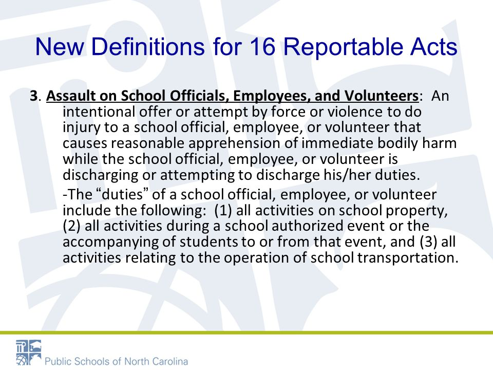 New Definitions for 16 Reportable Acts 3.