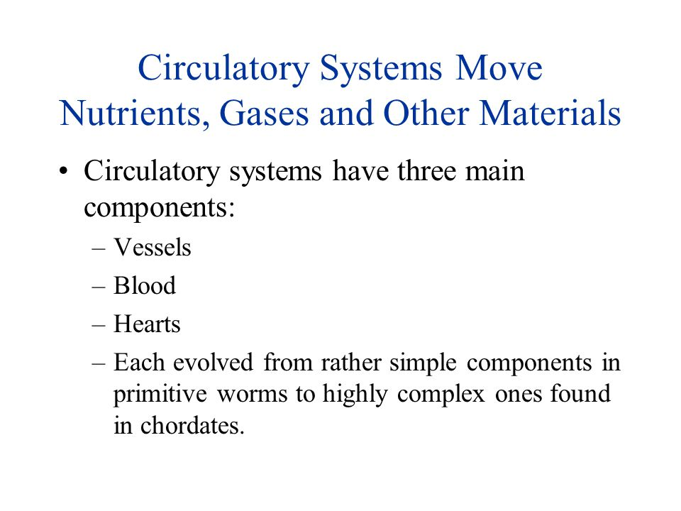 Circulatory Systems Move Nutrients, Gases and Other Materials Circulatory systems have three main components: –Vessels –Blood –Hearts –Each evolved fr