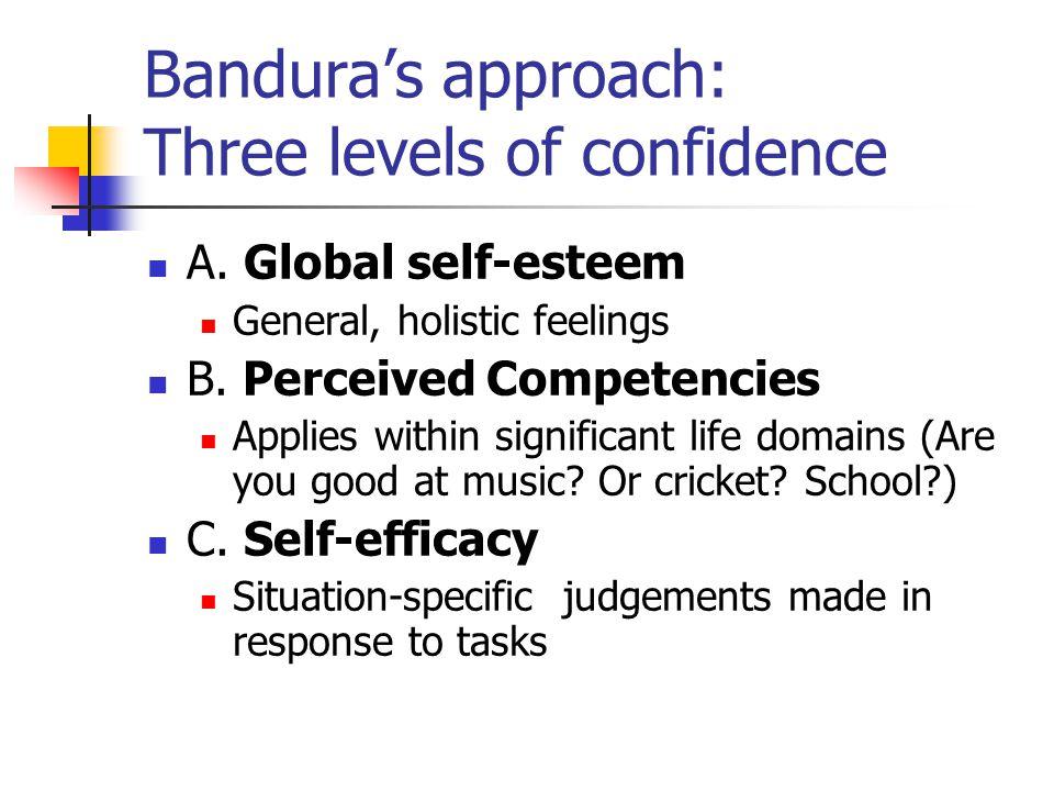 Bandura's approach: Three levels of confidence A.Global self-esteem General, holistic feelings B.