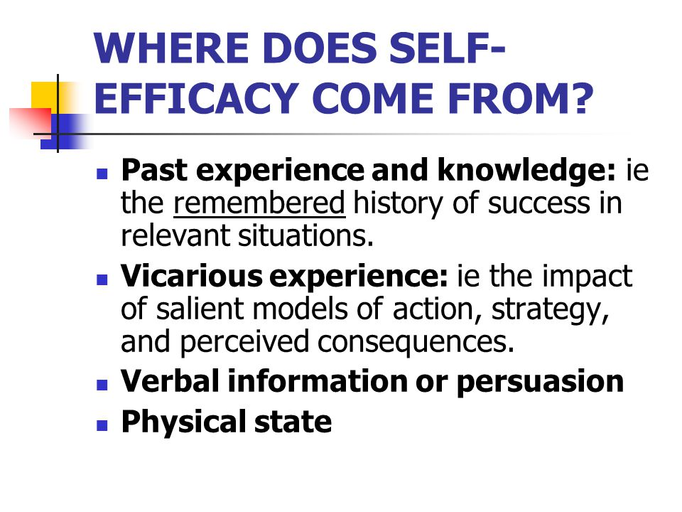 WHERE DOES SELF- EFFICACY COME FROM.