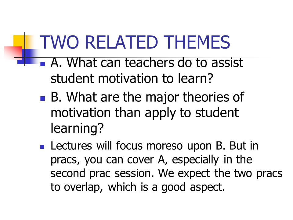 TWO RELATED THEMES A.What can teachers do to assist student motivation to learn.