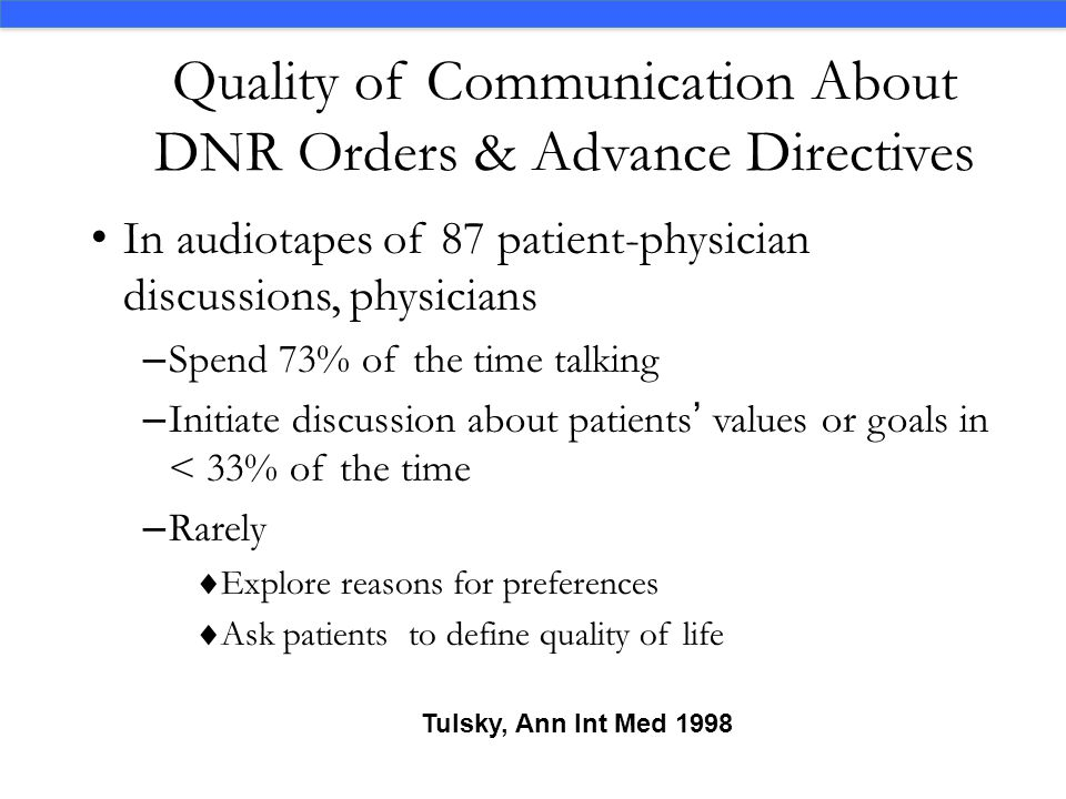 Quality of Communication About DNR Orders & Advance Directives In audiotapes of 87 patient-physician discussions, physicians – Spend 73% of the time t