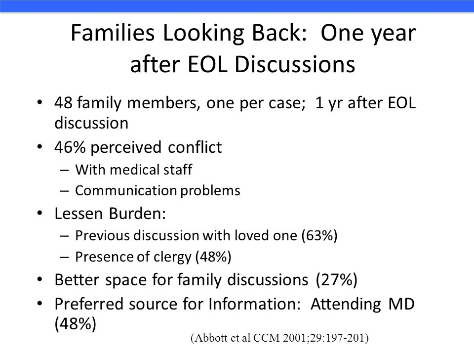 Families Looking Back: One year after EOL Discussions 48 family members, one per case; 1 yr after EOL discussion 46% perceived conflict – With medical
