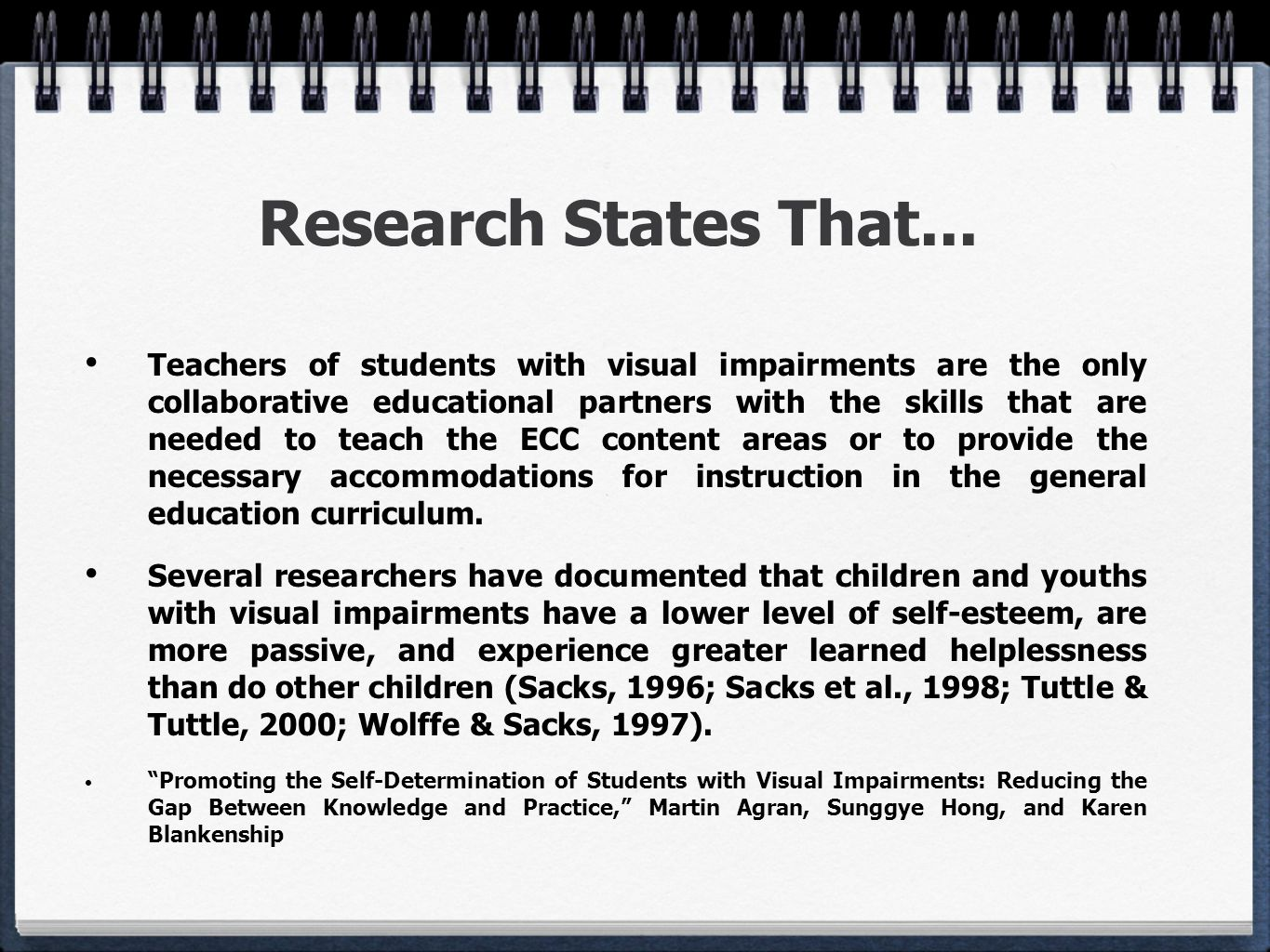Research States That...