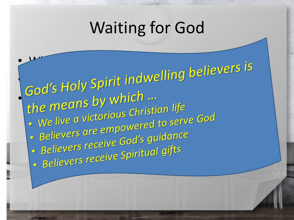 Waiting for God What command did Jesus give the disciples.