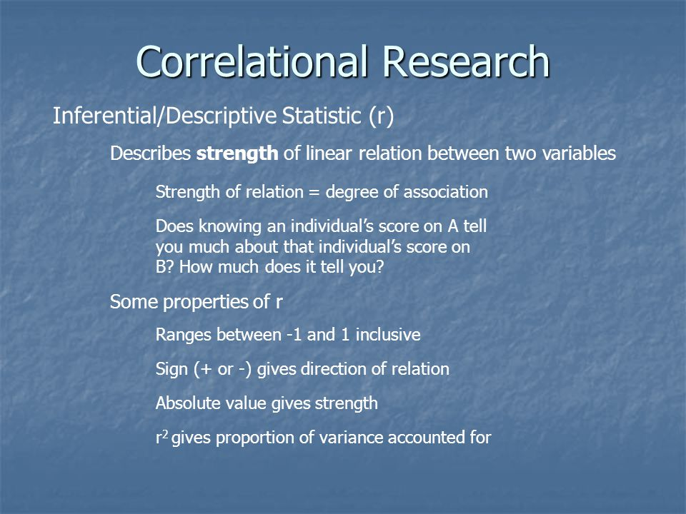 Correlational Research Inferential/Descriptive Statistic (r) Describes strength of linear relation between two variables Strength of relation = degree
