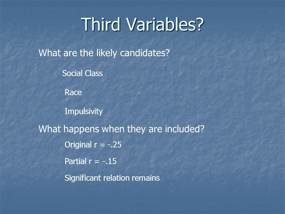 Third Variables. What are the likely candidates.