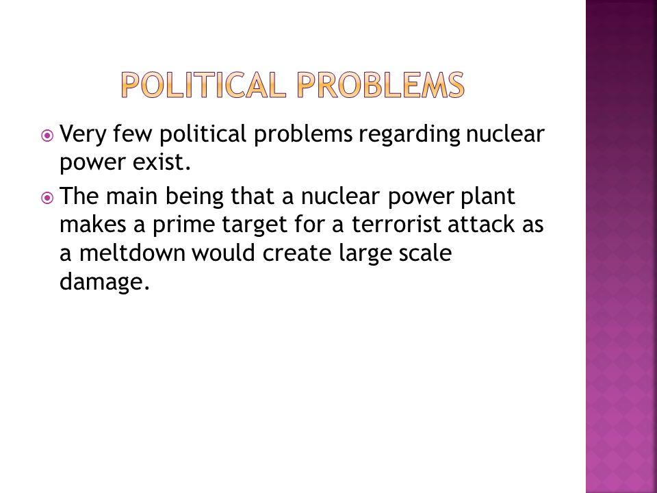  Very few political problems regarding nuclear power exist.