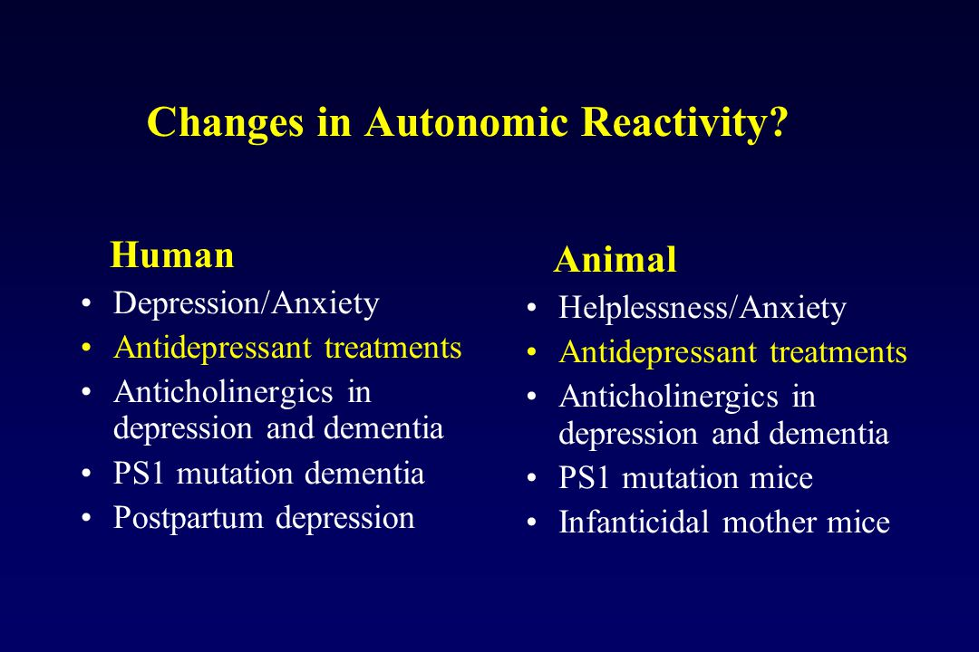 Changes in Autonomic Reactivity.