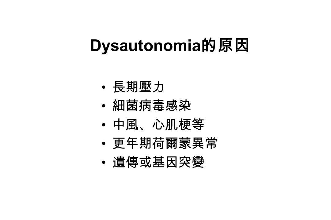 Dysautonomia 的原因 長期壓力 細菌病毒感染 中風、心肌梗等 更年期荷爾蒙異常 遺傳或基因突變