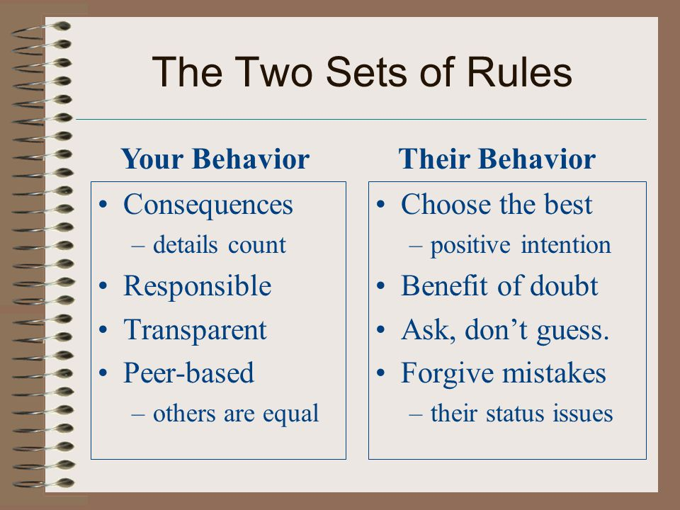 The Two Sets of Rules Consequences –details count Responsible Transparent Peer-based –others are equal Choose the best –positive intention Benefit of doubt Ask, don't guess.