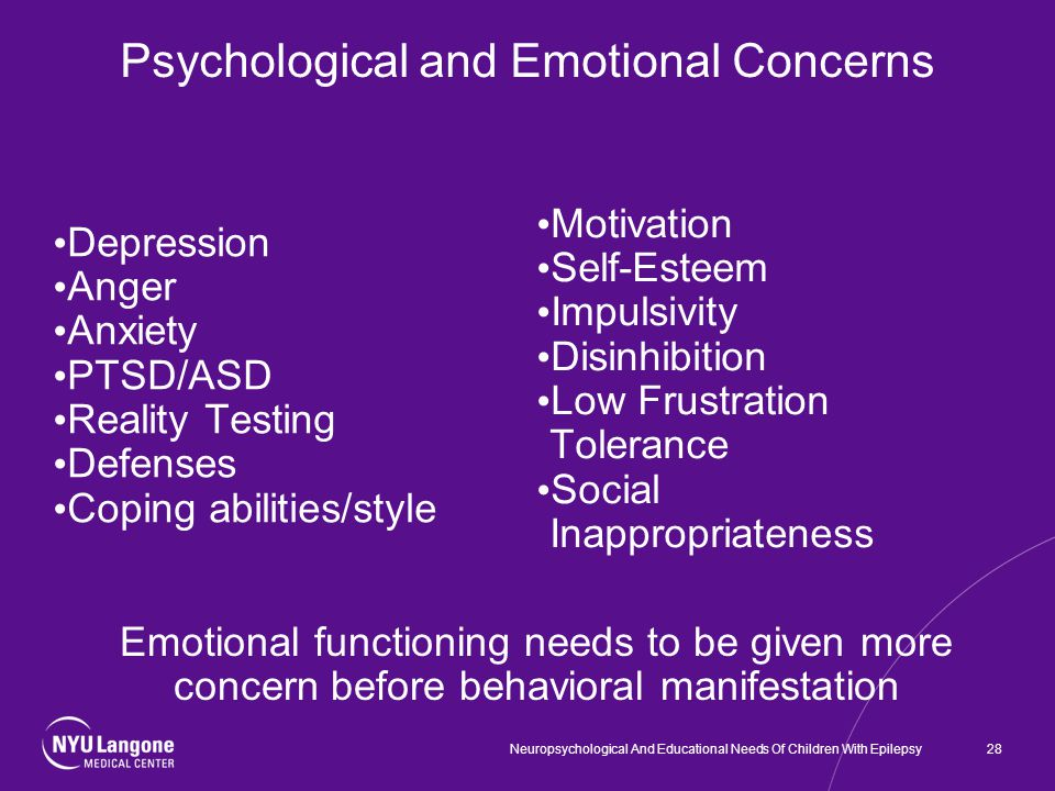 Psychological and Emotional Concerns Depression Anger Anxiety PTSD/ASD Reality Testing Defenses Coping abilities/style Motivation Self-Esteem Impulsivity Disinhibition Low Frustration Tolerance Social Inappropriateness Emotional functioning needs to be given more concern before behavioral manifestation 28Neuropsychological And Educational Needs Of Children With Epilepsy