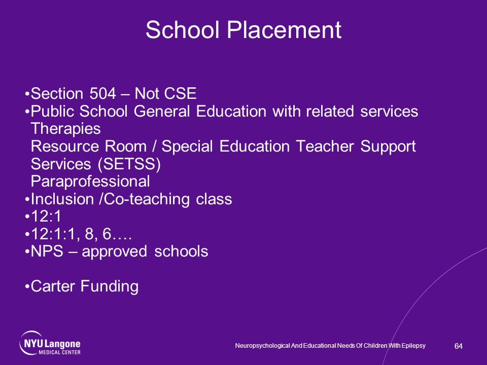School Placement Section 504 – Not CSE Public School General Education with related services Therapies Resource Room / Special Education Teacher Support Services (SETSS) Paraprofessional Inclusion /Co-teaching class 12:1 12:1:1, 8, 6….