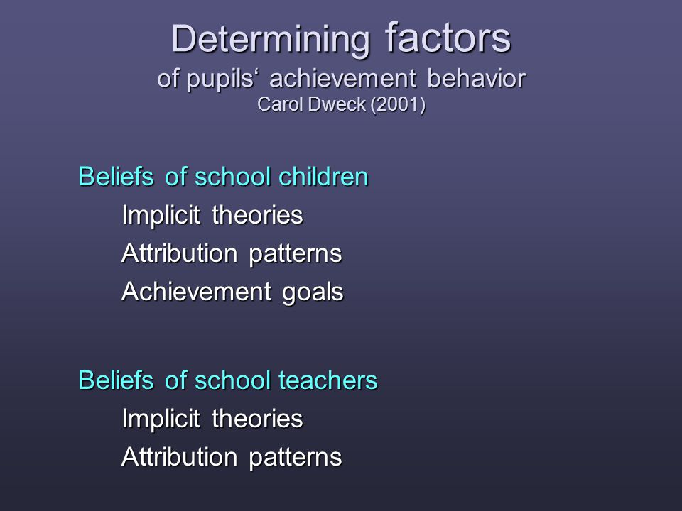 Conclusion Impact of teachers' theories on pupils achievement behavior Teachers' gender stereotypes influence their behavior but not their conscious statements.