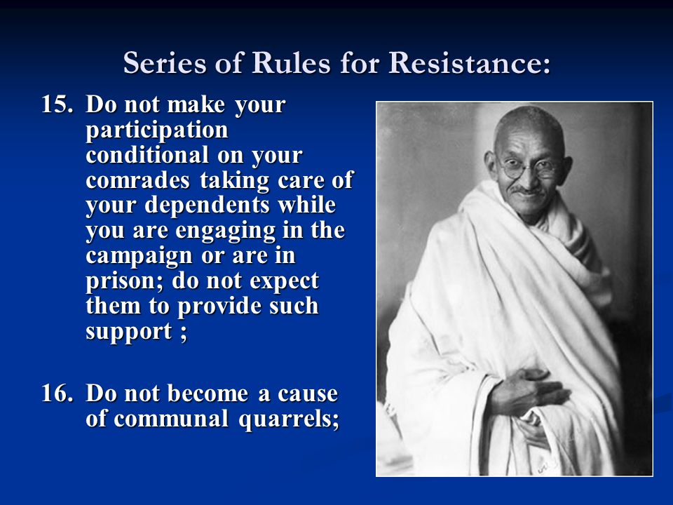Series of Rules for Resistance: 15.Do not make your participation conditional on your comrades taking care of your dependents while you are engaging i