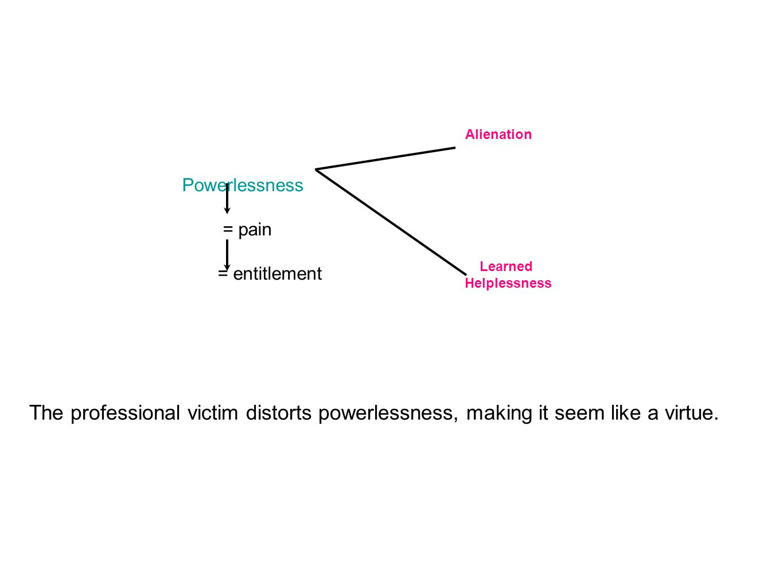 Powerlessness = pain = entitlement Alienation Learned Helplessness The professional victim distorts powerlessness, making it seem like a virtue.